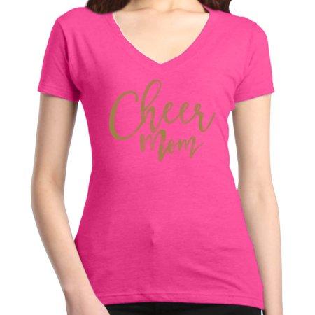 Shop4Ever Women's Cheer Mom Gold Cheerleader Slim Fit V-Neck