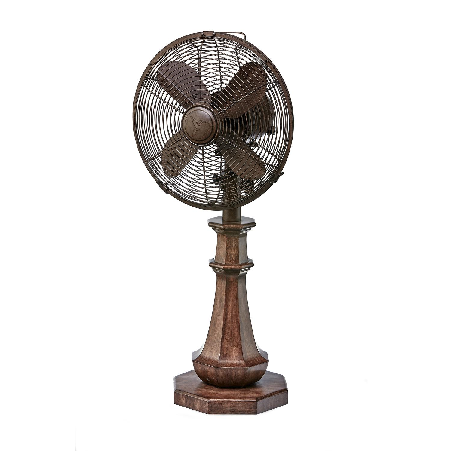 "25"" Chocolate Brown Coronado Antique-Style 3-Speed Wooden and Metal Table Fan"
