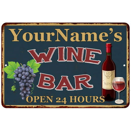 Your Name Green Wine Bar Personalized Sign Wall Decor 8 x 12 High Gloss Metal 208120043001