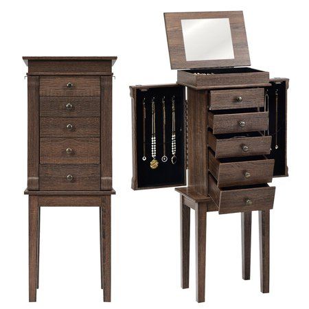 Gymax Jewelry Armoire Storage Chest Cabinet Standing Organizer w/5 Drawer & Top Mirror ()