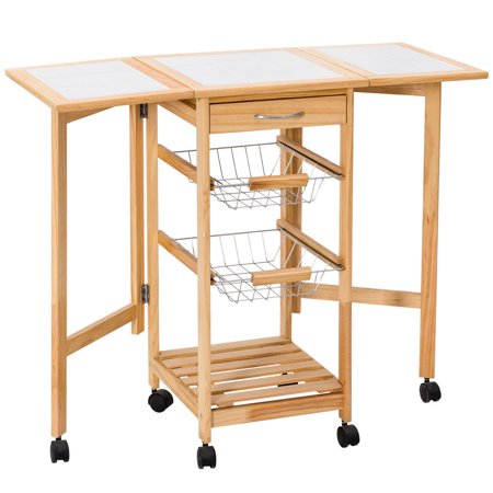 Enclosed Drop Leaf Cart - Costway Portable Rolling Drop Leaf Kitchen Storage Tile Top wooden Drawers Trolley Cart