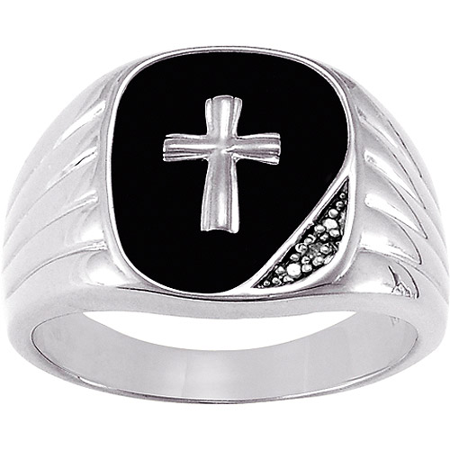 Personalized Men's Black Onyx with Diamond Accents Cross Sterling Silver Ring