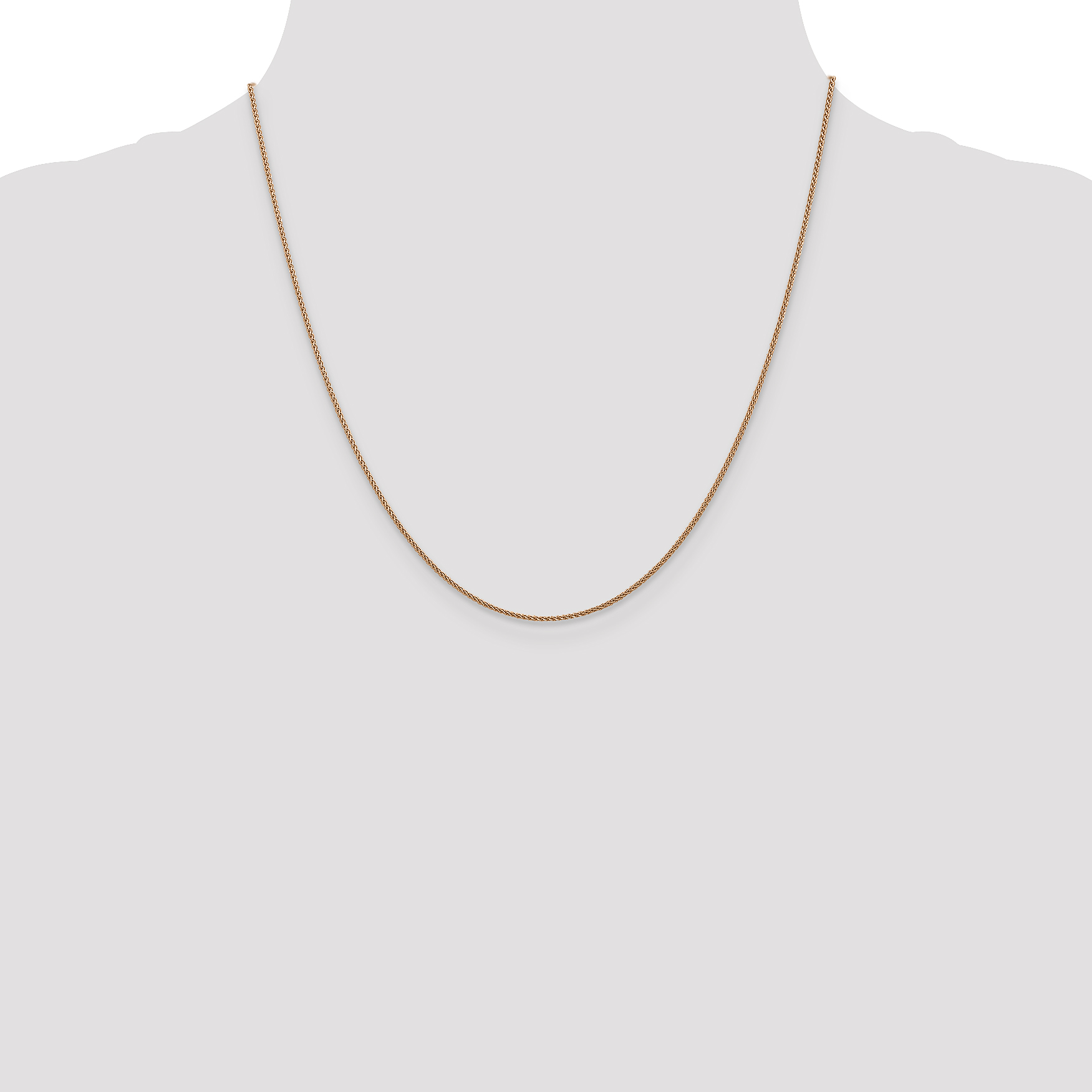 14k Rose Gold 1mm Spiga Link Wheat Chain Necklace 20 Inch Pendant Charm Spiga/wheat Fine Jewelry Gifts For Women For Her - image 2 de 5