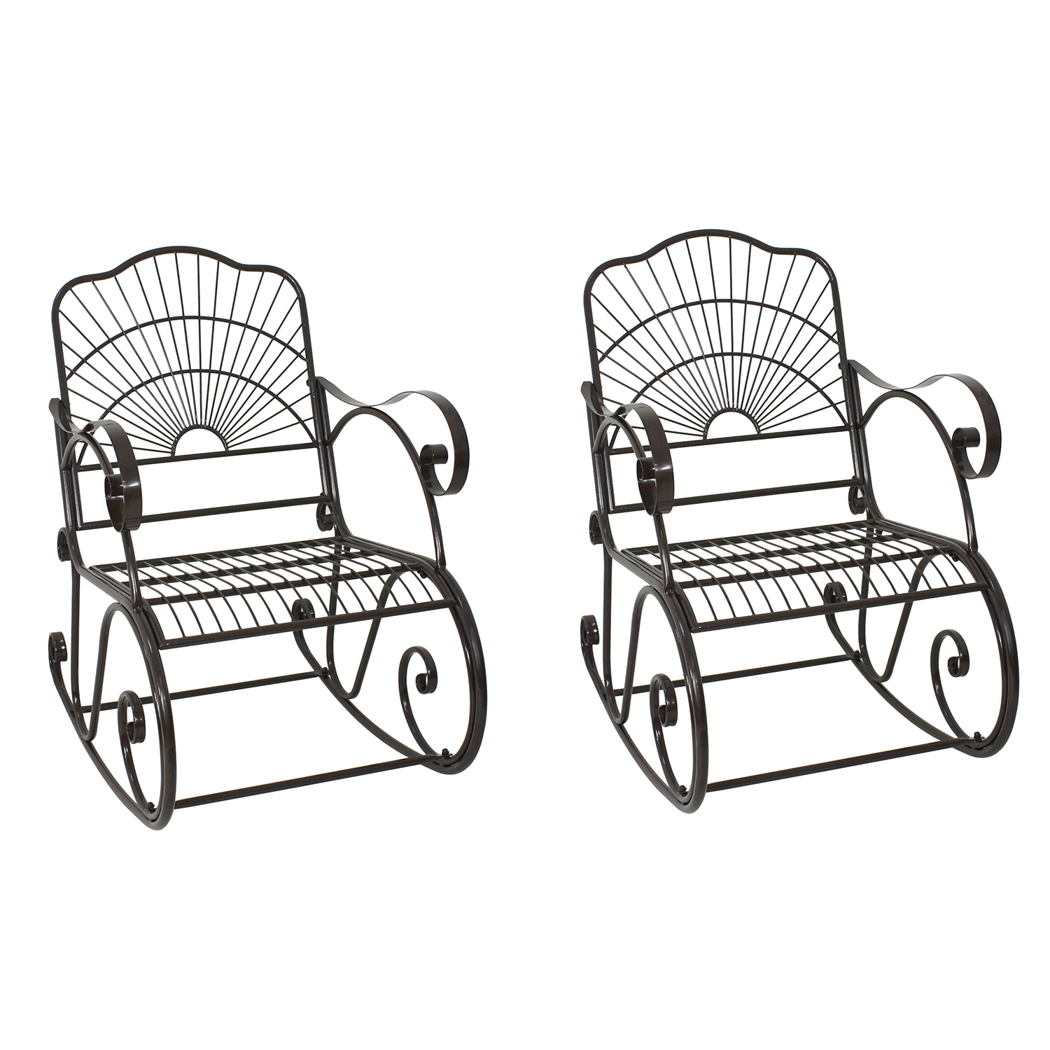 Zeny Set of 2 Patio Iron Scroll Porch Rocker Rocking Chai...
