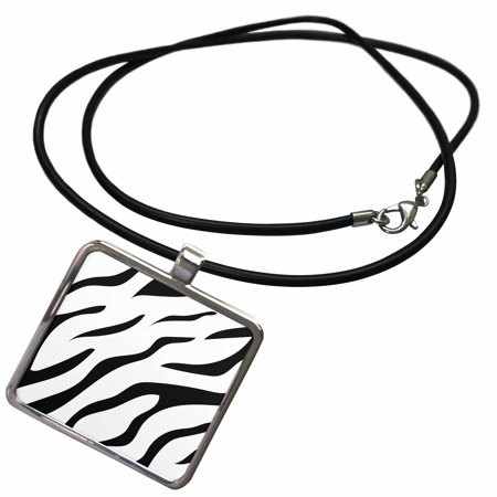 3dRose Black and White Zebra Africa Pattern Style - Necklace with Pendant (ncl_280376_1)