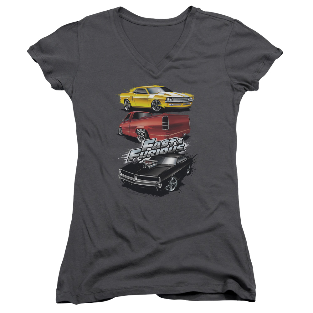 The Fast and the Furious Muscle Car Splatter Juniors V-Neck Shirt
