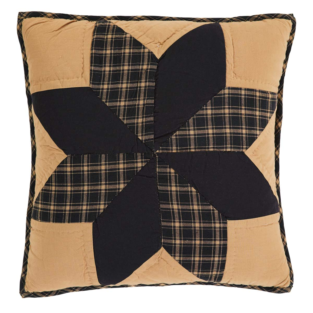 Country Black Primitive Bedding Lansing Black Cotton Hand Quilted Patchwork Star Square Pillow (Pillow Cover, Pillow Insert)