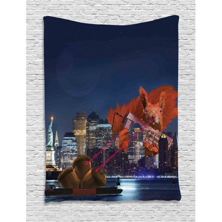 Animal Decor Tapestry  Cartoon Like New York City Scenery With A Big Laser Eyed Cute Squirrel Image  Wall Hanging For Bedroom Living Room Dorm Decor  60W X 80L Inches  Multicolor  By Ambesonne