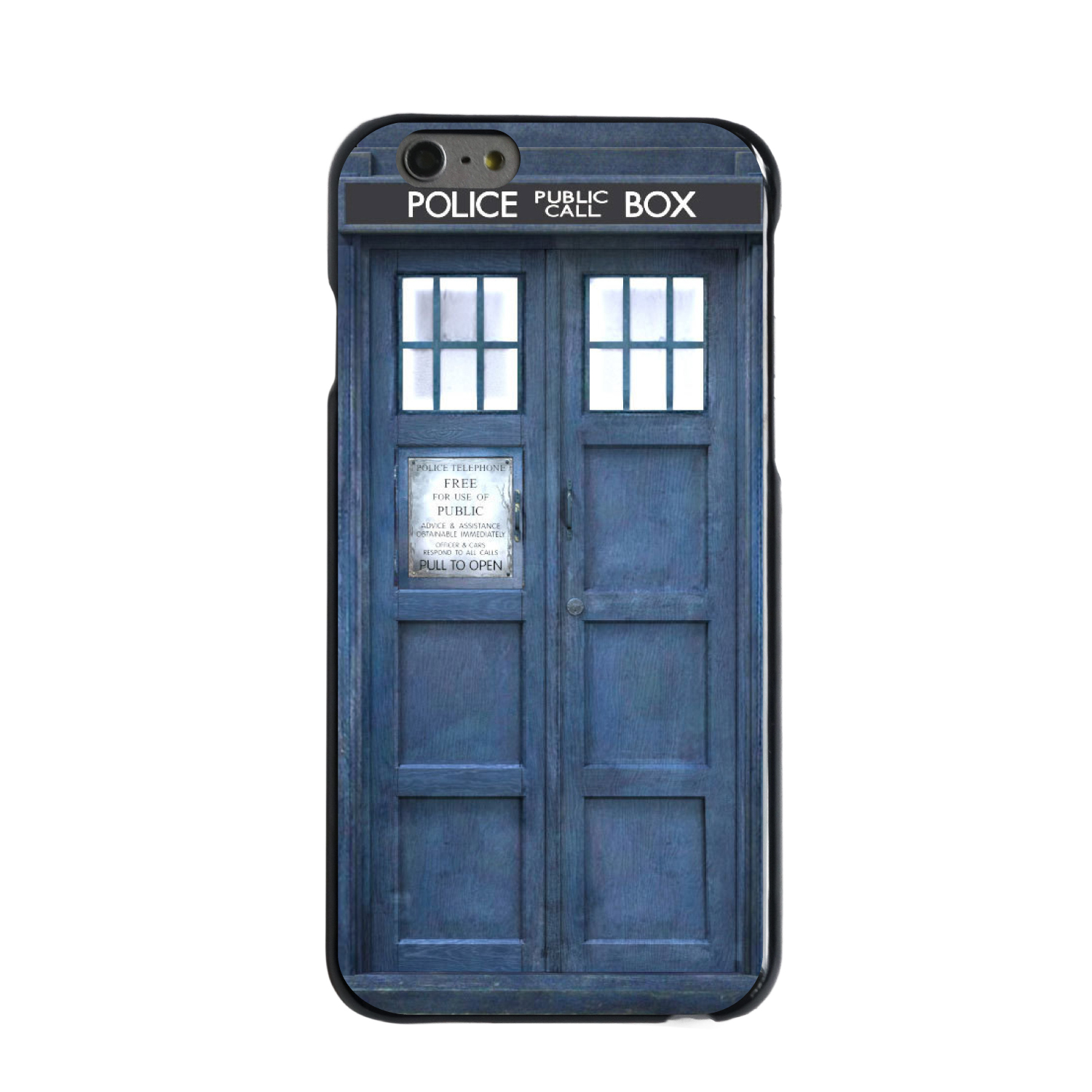 "CUSTOM Black Hard Plastic Snap-On Case for Apple iPhone 6 / 6S (4.7"" Screen) - TARDIS Call Box Photograph"
