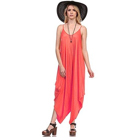 Red Coral Turquoise Ring - Fashion Secrets Solid Women Harem Overall Summer Spagehtti Straps Jumpsuit Romper (Large, Coral)