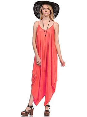 Fashion Secrets Solid Women Harem Overall Summer Spagehtti Straps Jumpsuit Romper (Large, Coral)