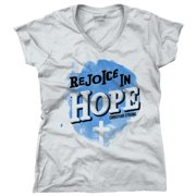 Rejoicing in Hope Christian T Shirt | Jesus Christ Faith Love Junior V-Neck Tee