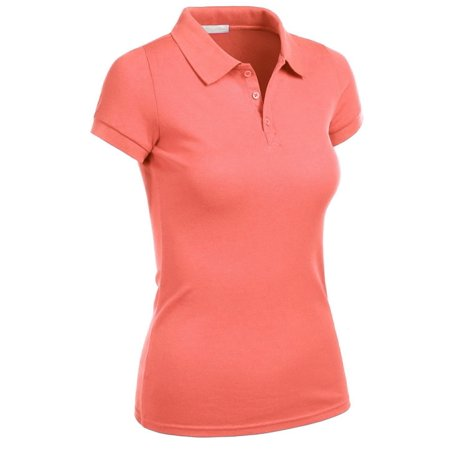 Essential Basic Women Junior Short Sleeve Pique Polo Golf School Uniform Shirt - S-3XL ()