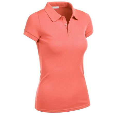 Essential Basic Women Junior Short Sleeve Pique Polo Golf School Uniform Shirt - S-3XL