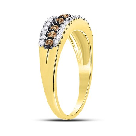 10kt Yellow Gold Womens Round Cognac-brown Color Enhanced Diamond Triple Row Band Ring 1/2 Cttw - image 2 de 4