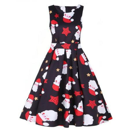 Plus Size Womens Vintage Santa Christmas Dress Sleeveless Xmas Swing Retro  Dresses