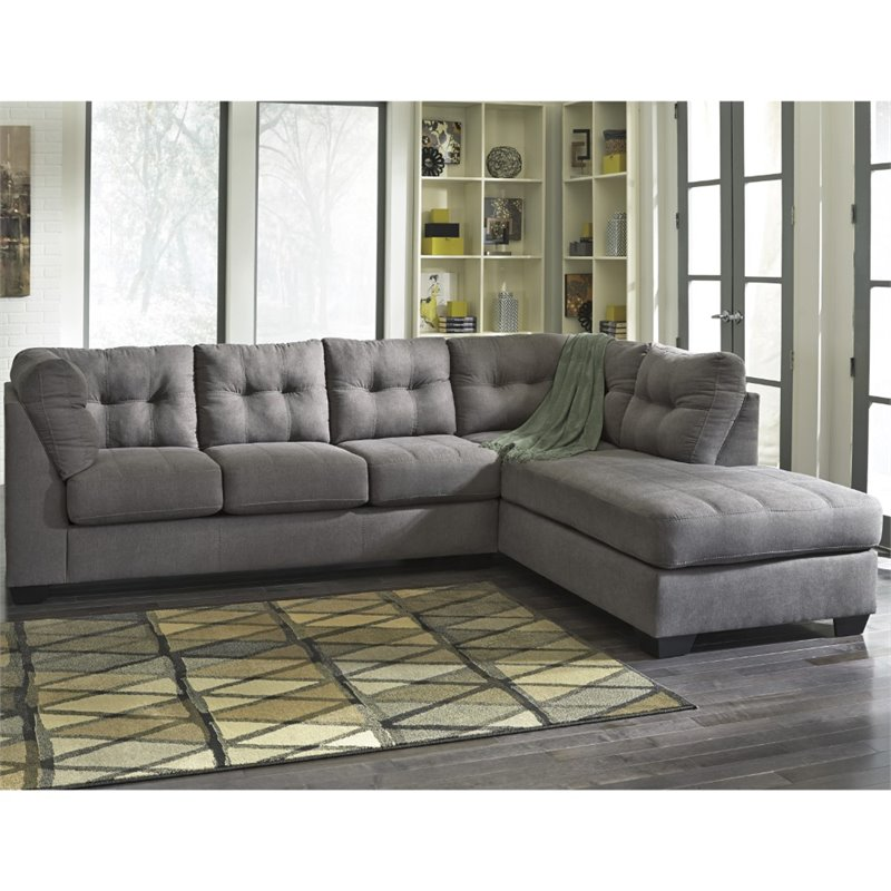 Flash Furniture Microfiber Right Facing Sectional in Charcoal by Flash Furniture