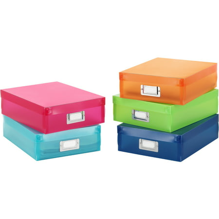 Whitmor Plastic Document Boxes Multiclor Set of 5