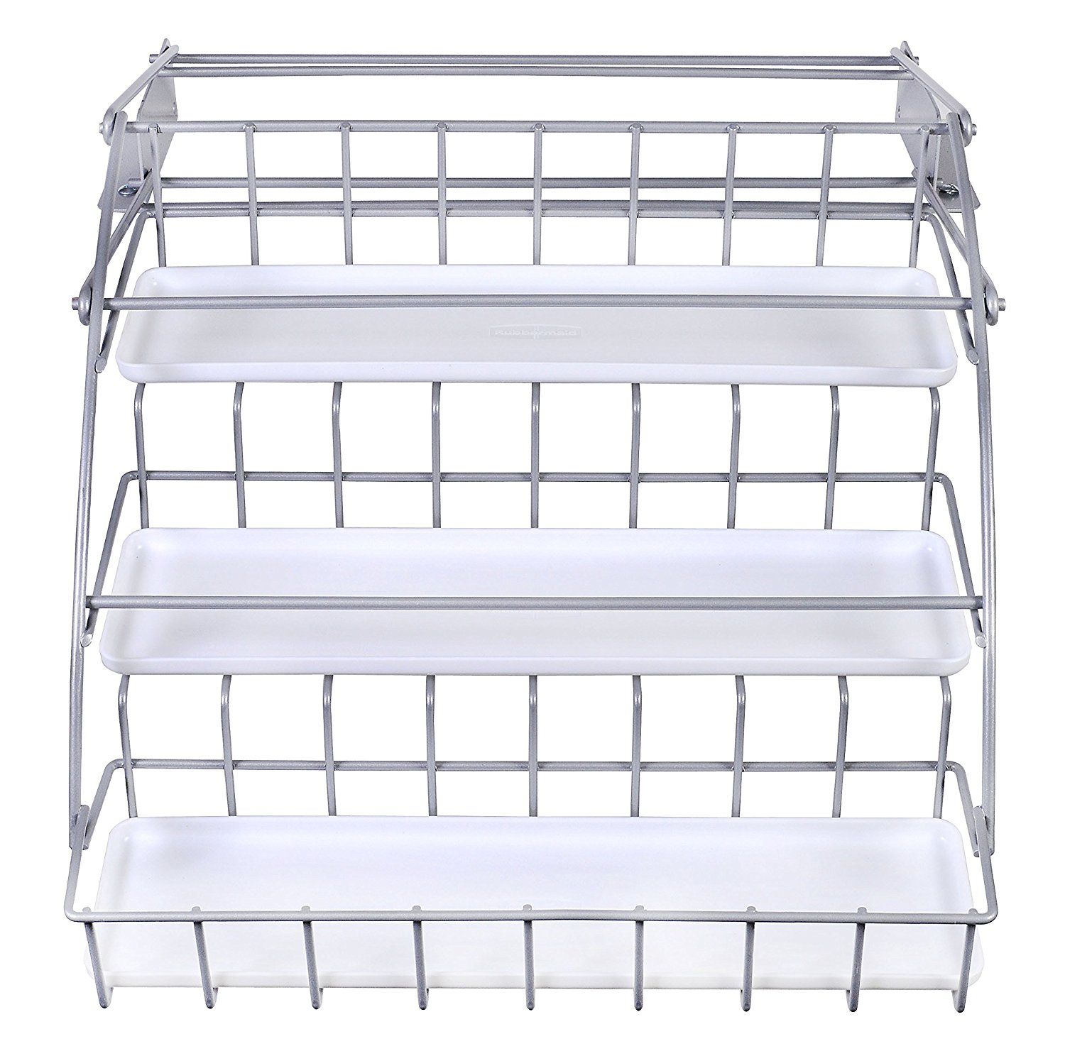 Rubbermaid Pull Down White Spice Rack and Satin Nickel, C...