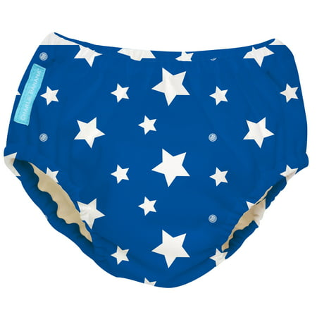 Charlie Banana Reusable Swim Diaper, White Stars Blue, Size Medium