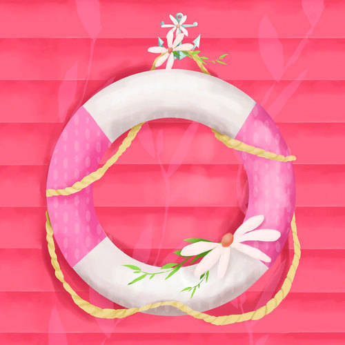 Oopsy Daisy - Ring Floatie Pink Canvas Wall Art 10x10, Meghann O'Hara