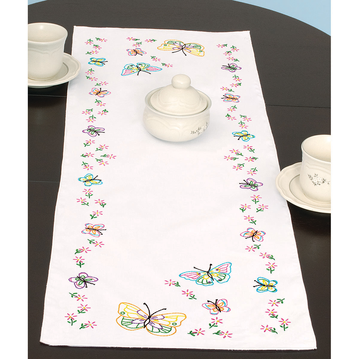 "Stamped Table Runner/Scarf 15""X42""-Fluttering Butterflies"