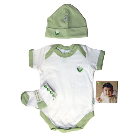 Green Sprouts Organic Terry - iPlay Green Sprouts Baby Layette 3PC Set, Hat, Socks & Overalls (Green, 0-3M)