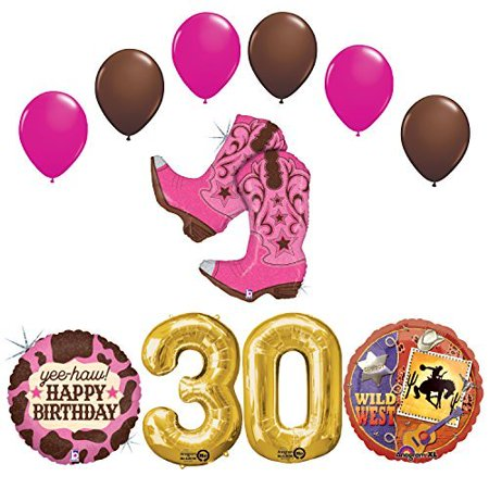 Wild Wild West Sweet 30th Cowgirl Boots Birthday Party Supplies for $<!---->