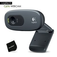 Logitech C270 Widescreen HD Webcam and 3 MP designed for HD Video Calling and...