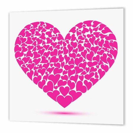 3dRose Large Pink Heart Made Of Smaller Hearts, Iron On Heat Transfer, 8 by 8-inch, For White Material