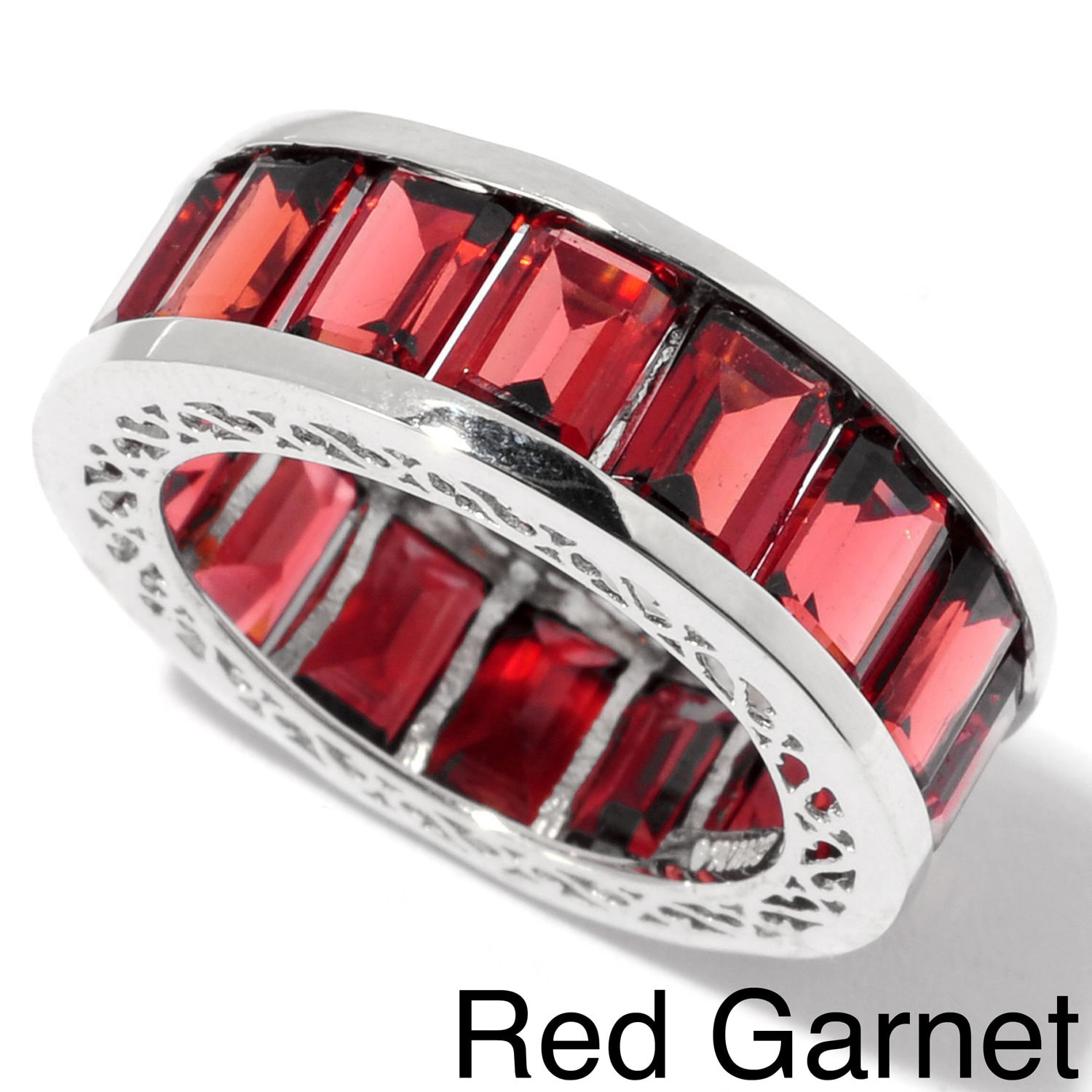 GEMCOLORZ LLC Sterling Silver Gemstone Eternity Band Ring