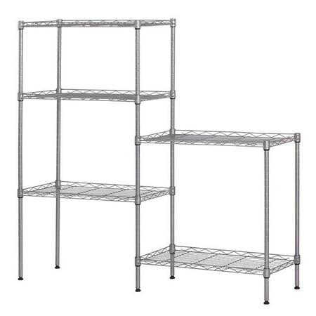 """Ktaxon 60""""x22""""x12"""" Heavy Duty 5Layer Wire Shelving Rack Adjustable Shelf Storage Silver"""