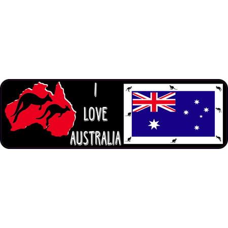 10in x 3in I Love Australia Bumper Sticker Vinyl Kangaroo Decal Stickers (Australia Bumper Sticker)