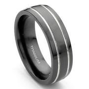 Titanium Kay 7mm Grooved Black Titanium Comfort Fit Mens Wedding Band Ring Sz 11.0