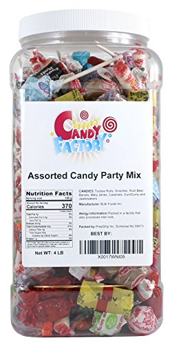Assorted Candy Party Mix, Individually Wrapped, in Jar, 4 Lbs by