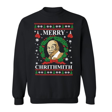 Merry Chrithmith Mike Tyson Ugly Christmas Sweater Unisex Crewneck Black Small