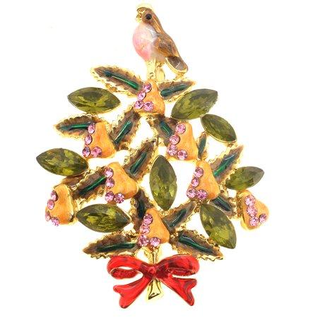 Partridge In A Pear Tree Christmas Brooch