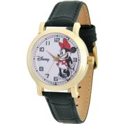 Minnie Mouse Women's Gold Vintage Alloy Watch, Black Leather Strap