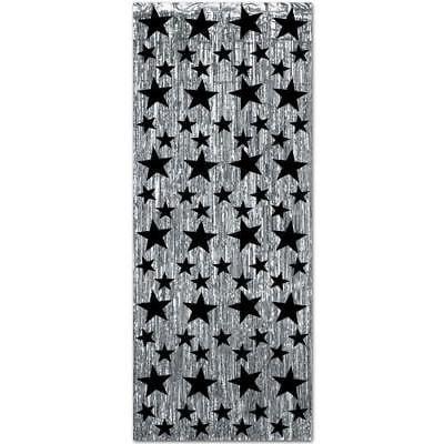 Mylar Curtain Drapes (Fringed Mylar Curtain 3'wx8'l Silver Star For)