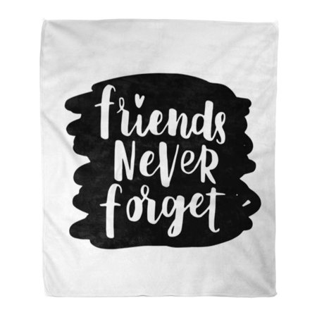 ASHLEIGH Flannel Throw Blanket Best of Lettering About Friendship Day Modern Phrase Friends and White Ink on Black Abstract 58x80 Inch Lightweight Cozy Plush Fluffy Warm Fuzzy