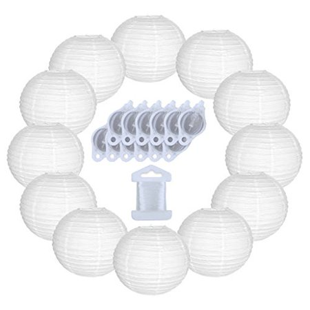 Just Artifacts 12inch Paper Lanterns 10pcs w/ 12pc LED Lights and Clear String (Color: White) - Paper Lanterns Michaels