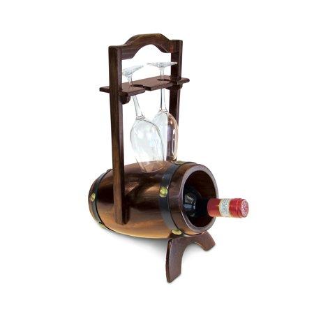 Wine Décor - Da Vinci - 1 Bottle & 2 Wine Glasses Wooden  Holder - Barrel Shape