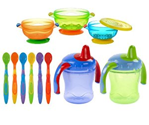 Munchkin 3 Count Suction Bowl with Infant Spoons & Playtex Sipster Cups by Munchkin