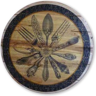 Boston Warehouse Lazy Susan Hand Crafted Wood, 16-Inch, Flatware 60 370