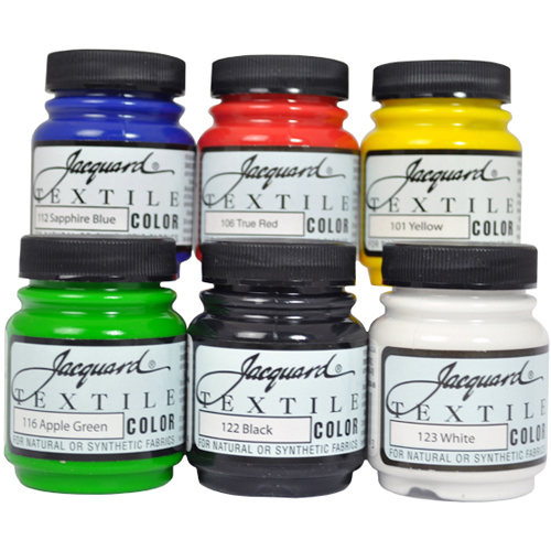 Jacquard Textile 6 Primary Assorted Pigments Fabric Ink Airbrush Spray Paint Set