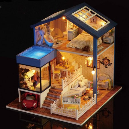 DIY Dollhouse Wooden Miniature Furniture Kit Mini House with LED Best Valentines Day Gifts for Husband & Wife ,Kid Toy Birthday Favour