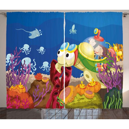 Turtle Curtains 2 Panels Set, Funny Cartoon Character Carrying Kids Underwater Coral Reef Octopus Nursery Decor, Window Drapes for Living Room Bedroom, 108W X 84L Inches, Multicolor, by Ambesonne