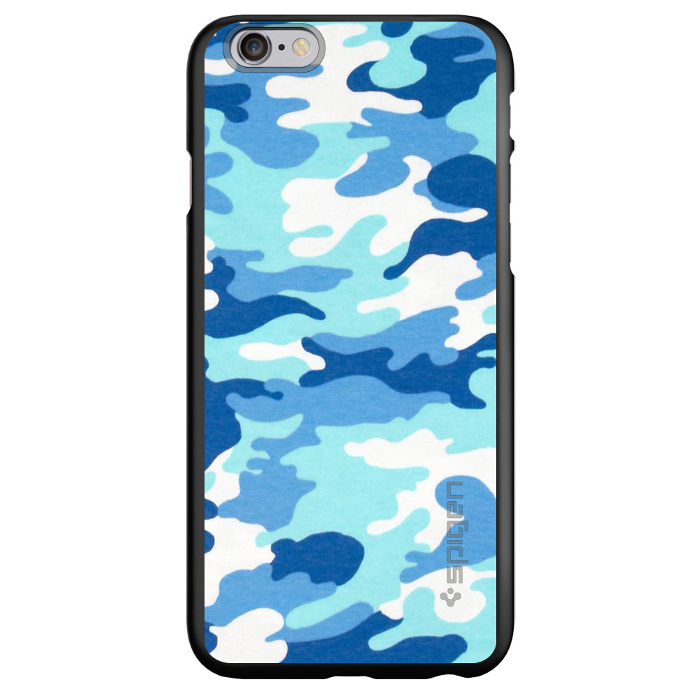 """CUSTOM Black Spigen Thin Fit Case for Apple iPhone 6 / 6S (4.7"""" Screen) - Blue White Camouflage"""