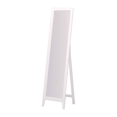 Peta White Solid Wood Frame Contemporary Rectangle Floor Standing Mirror 15 x 59 ()