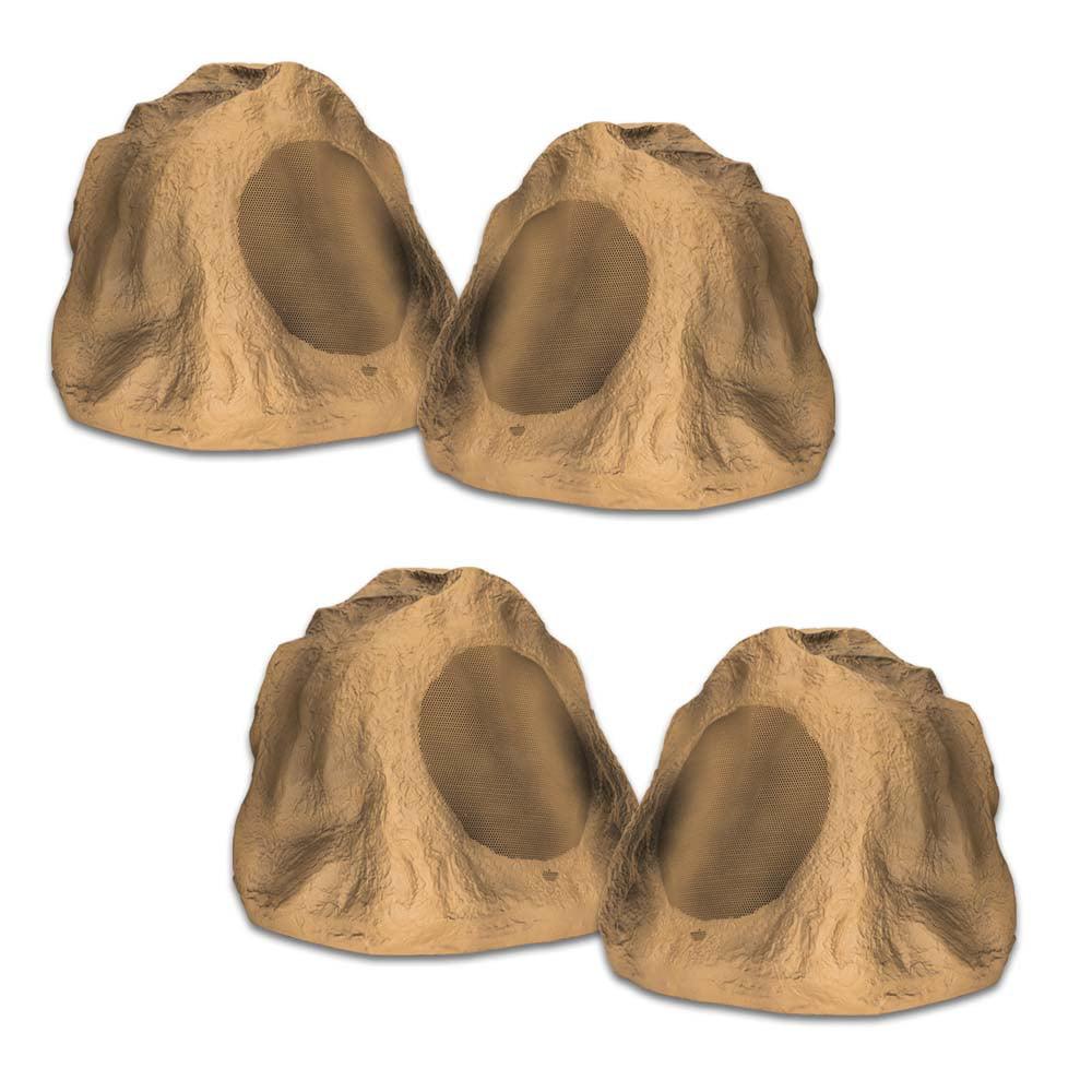 """Acoustic Audio B6RS Sandstone 6.5"""" Rock Speaker 2 Pair Pack Outdoor Weatherproof"""